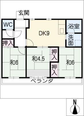 たなばた住宅3棟333号室 の間取り