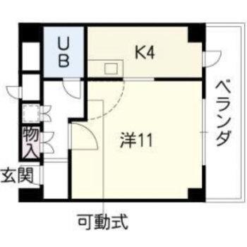 1Kのお部屋です。(※一部間取りと異なります。写真をご参照ください。)