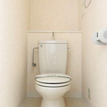 棚の付いたトイレ。収納にも使えるけど植物を置いても可愛いかも。