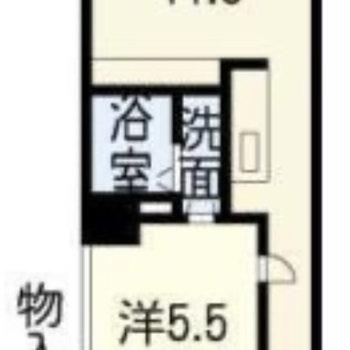 縦長な1LDKのお部屋。