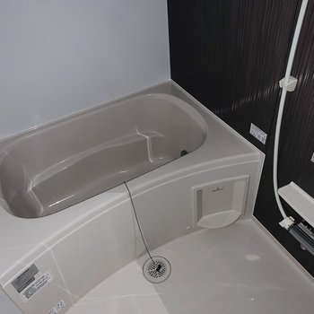 鏡やシャンプー台、浴室乾燥機も!(※お部屋は通電前です。)(※フラッシュ撮影です。)