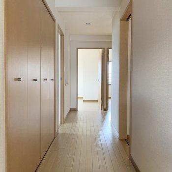 玄関からの廊下(真正面がLD、右手が洗面です)