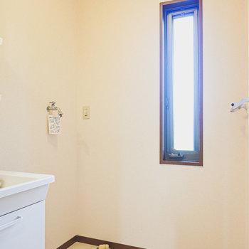 その右手にはパン無しタイプの洗濯機置場。縦長の窓があり、明るい空間。