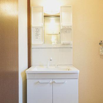脱衣所入って左手には棚付きで使いやすい洗面台。
