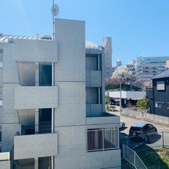 眺望はお隣さんですが、ナナメ奥には桜がチラリ。