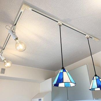 天井にはL字のライティングレールが。