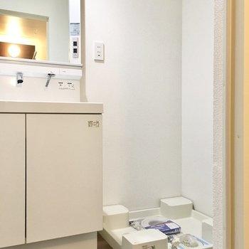お隣は洗濯機置場です。(※写真は1階の反転間取り別部屋のものです)