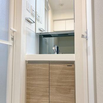 鏡の大きい独立洗面台は朝の準備が捗りそう。※写真は5階の同間取り別部屋のものです