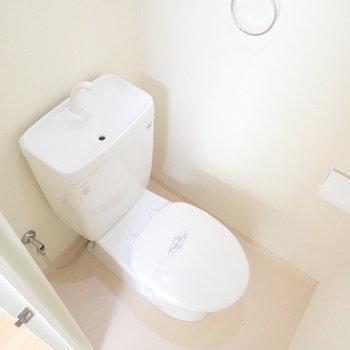 ウォシュレットはありませんが、シンプルで綺麗なトイレです。