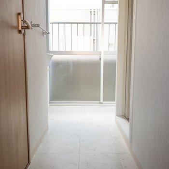 脱衣所のこの廊下を歩いていくと…