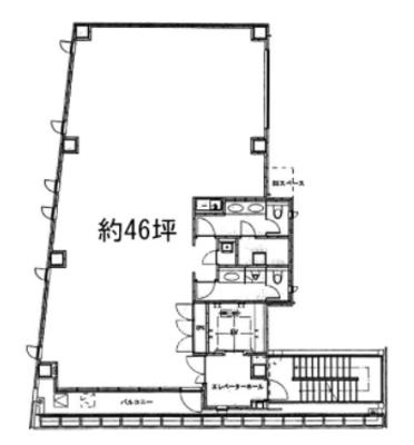 赤坂 46.4坪 オフィス の間取り