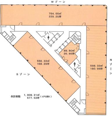 新宿 59.84坪 オフィス の間取り