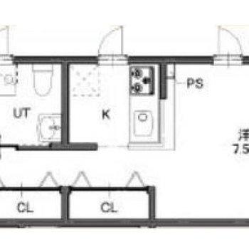 角部屋の1Rのお部屋。
