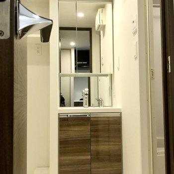 洗面台は鏡の面積大きめですよ。