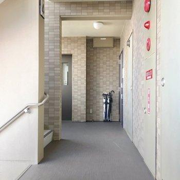1フロア2戸。共用廊下も綺麗でした。