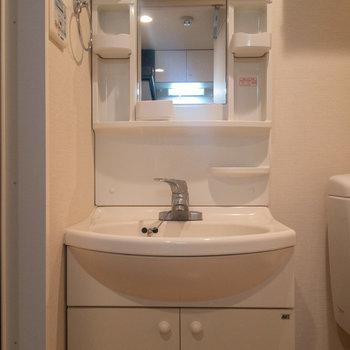 独立洗面台は収納たくさんですね。