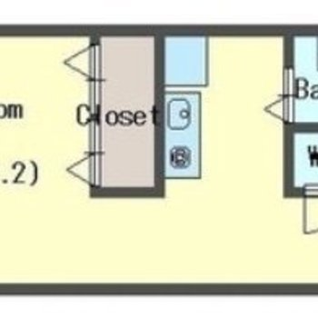 クローゼットで空間が仕切られたワンルーム。※間取り図の反転タイプです。