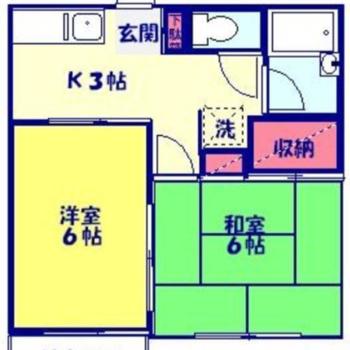洋室、和室ともに約6帖の2Kです。