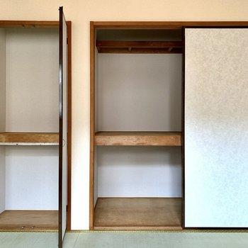 容量たっぷりでした。扉の裏地の色がいい…。※写真は1階の同間取り別部屋のものです
