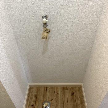 お風呂横が洗濯機置き場。※写真は1階の同間取り別部屋のものです