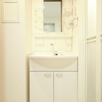 洗面台はすっぽりハマっていて、