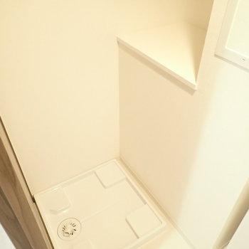 となりに洗濯機があります。棚に洗剤など置けますね!