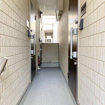 共用廊下はちょっぴり狭め。