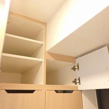シューズクローゼットとしても、洗剤とか入れても、いいよね。※写真は2階の同間取り別部屋のものです