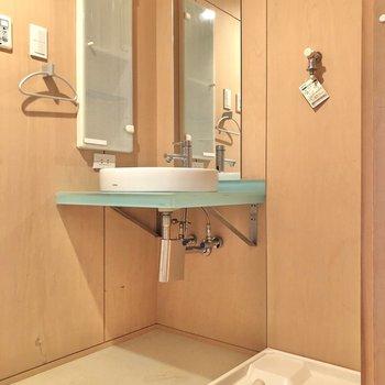 スタイリッシュな洗面台がお出迎えしてくれるサニタリールーム。