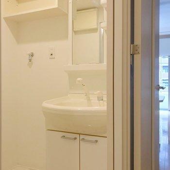 脱衣所もしっかりと。洗濯機上の棚が便利だな〜。(※写真は2階の同間取り別部屋のものです)
