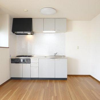右を向くと大きな壁付けキッチン。家電用のスペースも右手にたっぷりと。