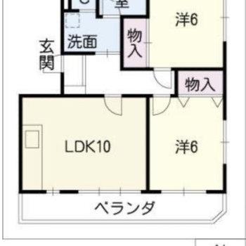 同じ広さの洋室が二つ。ふたりで分け合って暮らしましょう。