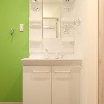 床とアクセントクロスが素敵。洗濯パンはないタイプです。(※写真は1階の反転間取りモデルルームのものです)