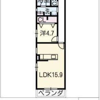 長い廊下の1LDK