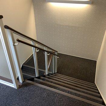 アクセスは階段のみ。カーペット素材なので疲労感はありません。