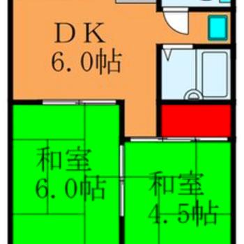 ゆったり一人暮らしに。※和室6帖のお部屋は洋室になっています。