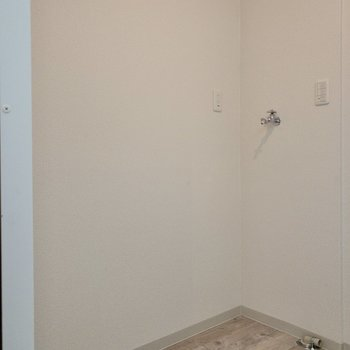 後ろには冷蔵庫と洗濯機が置けるスペースがあります。