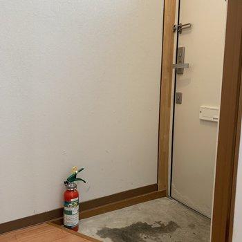 玄関はコンパクト。シューズボックスはございません