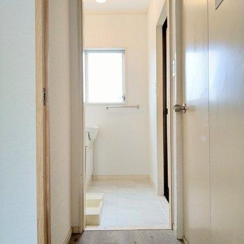 脱衣所のも十分スペース。右手の扉はトイレ。