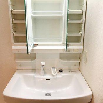 ゆとりのある洗面台。鏡裏にも収納できますよ。