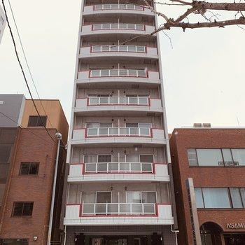 縦長の10階建て一方通行の通りに面しています