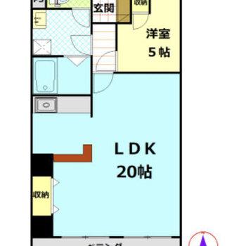 お部屋の半分以上がLDKな1LDKの間取りです。