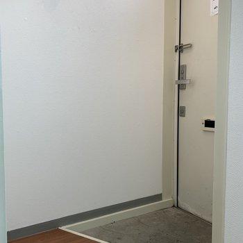 玄関はコンパクト。シューズボックスはありません