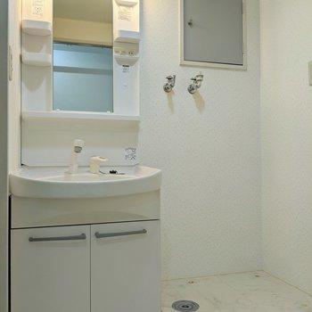 独立式の洗面台です。隣には洗濯機置き場がありますよ。