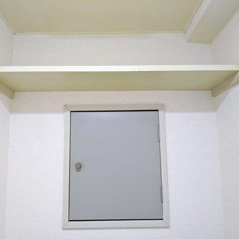 予備のトイレットペーパーが置けますね〜。扉を開けると水道管なので、収納スペースではありません。