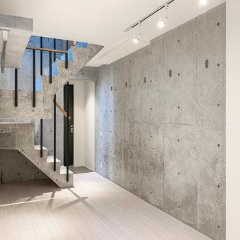 【下階洋室】こちらのお部屋も、打ちっぱなしのコンクリートにはフックが。