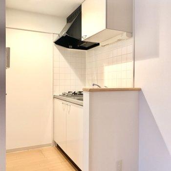 冷蔵庫はシンクの右横かな。
