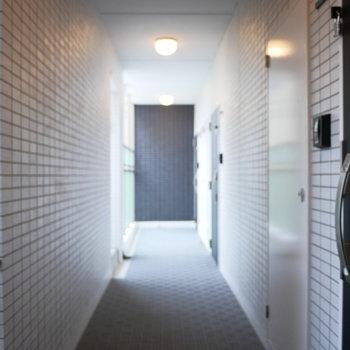 共用廊下も綺麗で安心