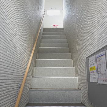 エントランス入って正面の階段を登って左手がお部屋。