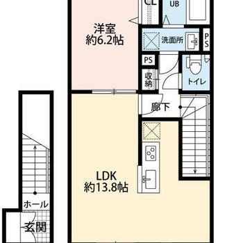 2人暮らしにも使いやすい、1ldkのお部屋です。玄関は1階にあります。